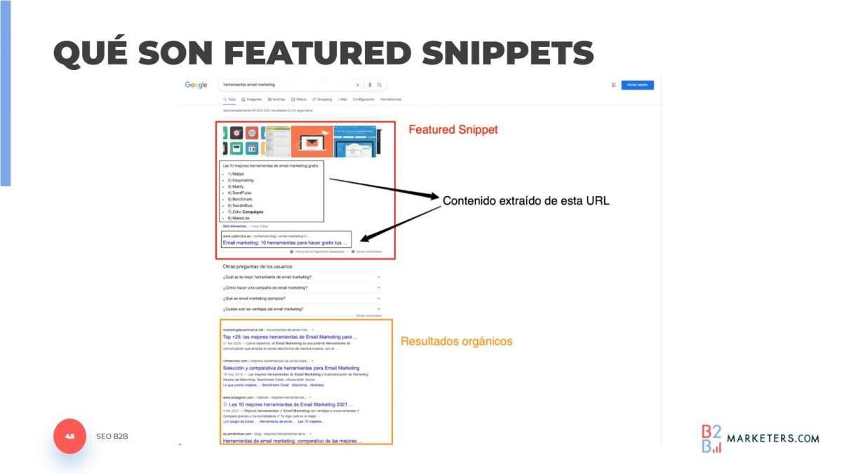 Los featured snippets son un resultado de Google que da cuenta del posicionamiento SEO que tiene un sitio web