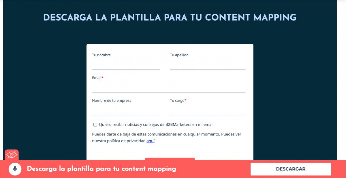 Plantilla descargable sobre content mapping. Las plantillas descargables es uno de los formatos de marketing de contenidos para MOFU